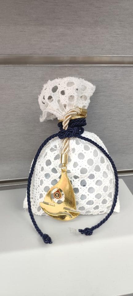 Μπομπονιέρα Βάπτισης Πουγκί φιλε 376590